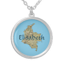 Colombia Map   Name Necklace