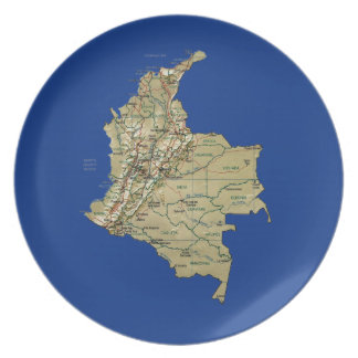 Colombia Map Plate