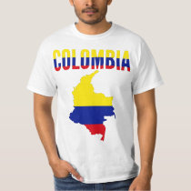 Colombia Map Text T-Shirt