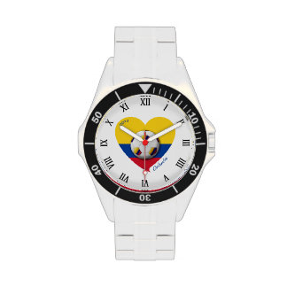 Colombia Nacional Soccer 2014 Ball and Heart Wristwatches
