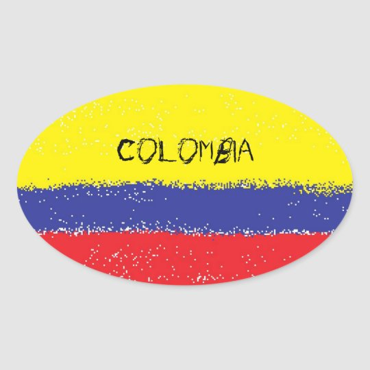 Colombia paint oval flag stickers