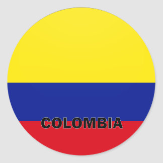Colombia Roundel quality Flag Classic Round Sticker