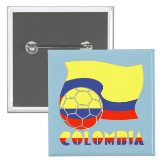Colombia Soccer Ball and Flag Button