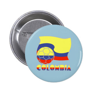 Colombia Soccer Ball and Flag Pinback Button