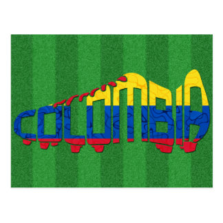 Colombia Soccer Cleat Calligram Postcard