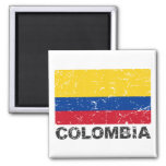 Colombia Vintage Flag 2 Inch Square Magnet