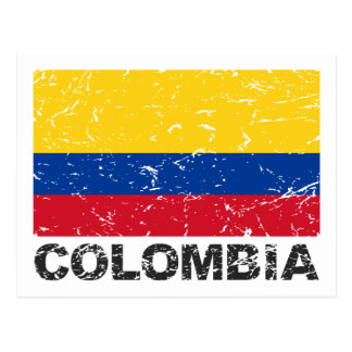 Colombia Vintage Flag Post Card