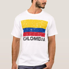 Colombia Vintage Flag T-shirt at Zazzle
