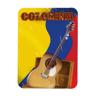 Colombia vintage vacation guitar poster magnet