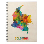Colombia Watercolor Map Notebook