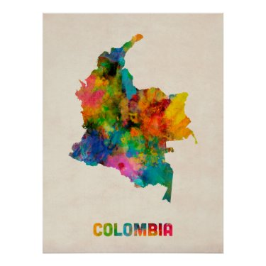 Colombia Watercolor Map Poster