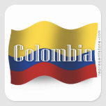 Colombia Waving Flag Square Sticker