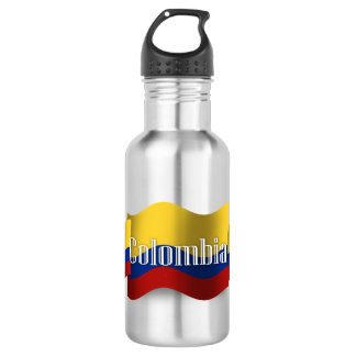 Colombia Waving Flag Water Bottle