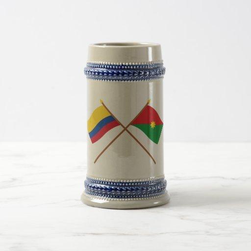 Colombia y banderas cruzadas Casanare Jarra De Cerveza