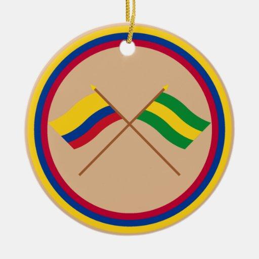 Colombia y banderas cruzadas Cauca Adornos De Navidad