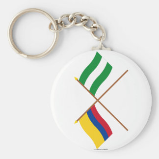 Colombia y banderas cruzadas Cesar Llavero Redondo Tipo Pin