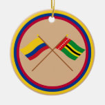 Colombia y banderas cruzadas Santander Adorno Navideño Redondo De Cerámica