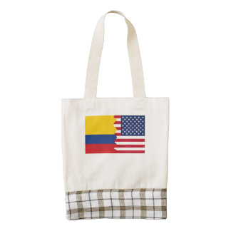 Colombian American Flag Zazzle HEART Tote Bag