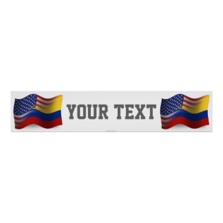 Colombian-American Waving Flag Banner Poster