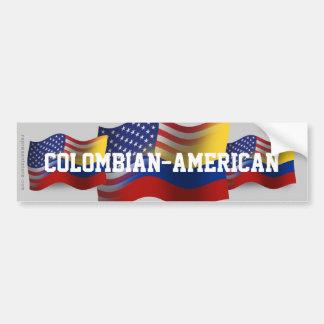 Colombian-American Waving Flag Car Bumper Sticker