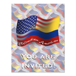Colombian-American Waving Flag Card