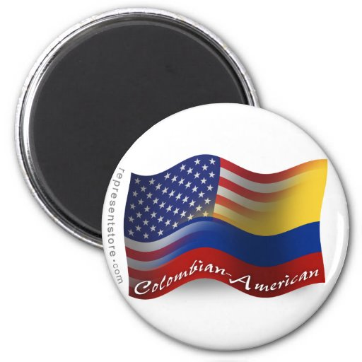 Colombian-American Waving Flag Fridge Magnet