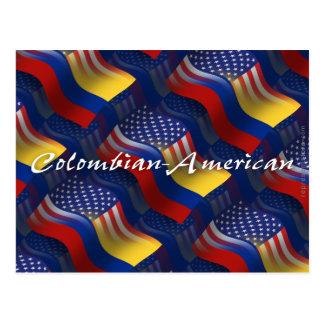Colombian-American Waving Flag Postcard
