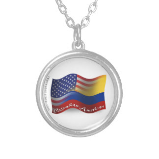 Colombian-American Waving Flag Round Pendant Necklace