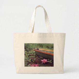 Colombian Boat and Lily Large Tote Bag