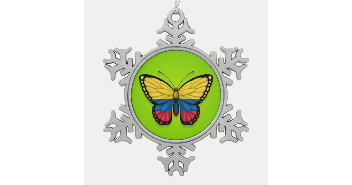 Colombian Butterfly Flag On Green Snowflake Pewter Christmas Ornament Zazzle Com