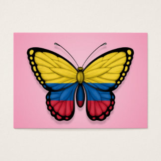 Colombian Butterfly Flag on Pink Business Card