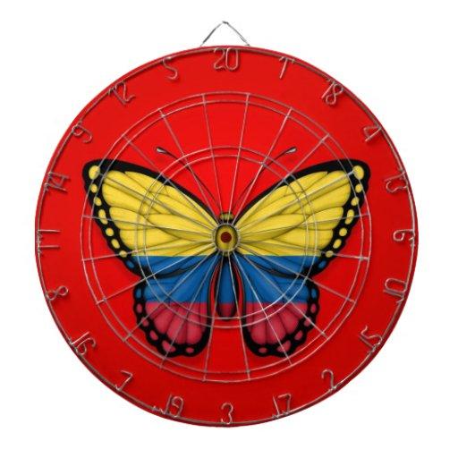 Colombian Butterfly Flag on Red Dart Board