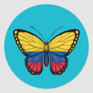 Colombian Butterfly Flag Classic Round Sticker
