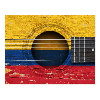 Colombian Flag on Old Acoustic Guitar Postcard
