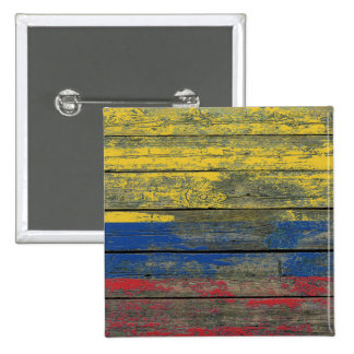 Colombian Flag on Rough Wood Boards Effect 2 Inch Square Button