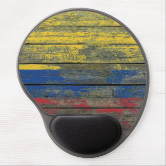 Colombian Flag on Rough Wood Boards Effect Gel Mouse Pad