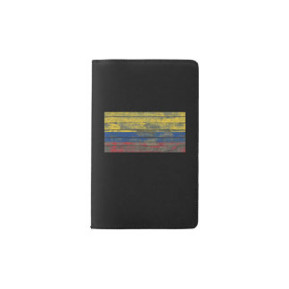 Colombian Flag on Rough Wood Boards Effect Pocket Moleskine Notebook