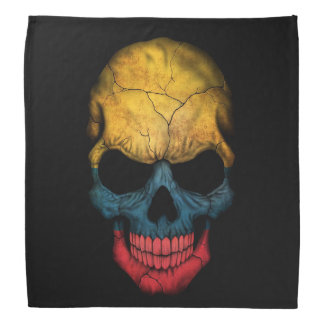 Colombian Flag Skull on Black Bandana