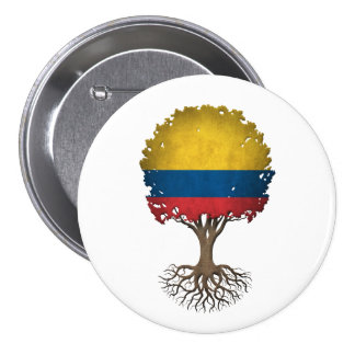 Colombian Flag Tree of Life Customizable 3 Inch Round Button