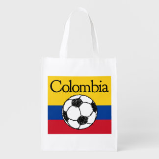 Colombian flag with Football Reusable Grocery Bag