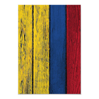 Colombian Flag with Rough Wood Grain Effect Card