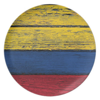 Colombian Flag with Rough Wood Grain Effect Dinner Plate