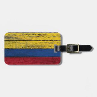 Colombian Flag with Rough Wood Grain Effect Luggage Tag