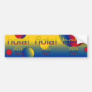 Colombian Gifts : Hello / Hola + Smiley Face Bumper Sticker