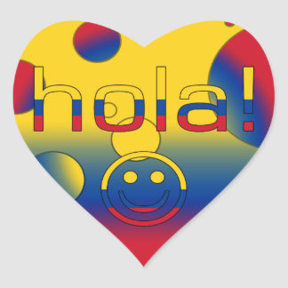 Colombian Gifts : Hello / Hola + Smiley Face Heart Sticker