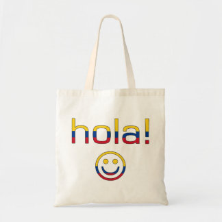 Colombian Gifts : Hello / Hola + Smiley Face Tote Bag