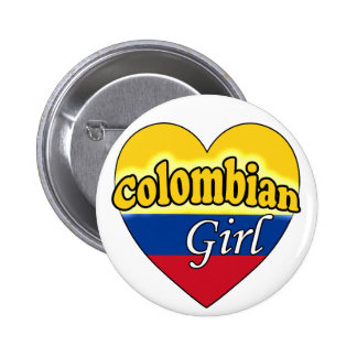 Colombian Girl Pinback Buttons