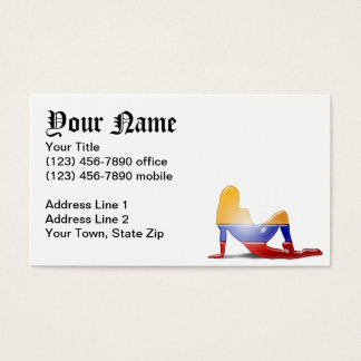 Colombian Girl Silhouette Flag Business Card