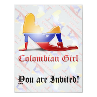 Colombian Girl Silhouette Flag Card