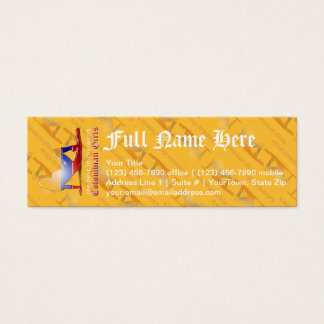 Colombian Girl Silhouette Flag Mini Business Card